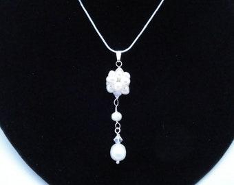 Dangling Cluster Freshwater Pearls  Swarovski Crystal Sterling Silver Snowball Winter Wedding Earrings Mother of Bride Mother of Groom Bride