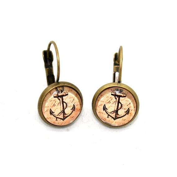 Anchor Earrings, Nautical Illustration Dangle Earrings