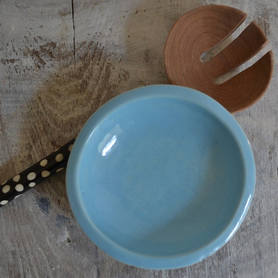 Baby Blue Bowl - small textured ceramic bowl - Wobbly Plates Series