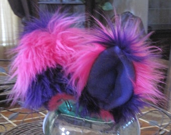 Cheshire cat pink/puple striped luxury shag faux fur ears with metal snap hair clips