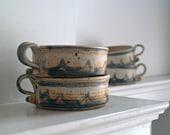 Vintage Studio Pottery Soup Bowl Set, Handmade Stoneware Soup Bowls
