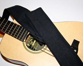 Guitar Strap-Black Guitar Strap-Vegan Guitar Strap-Hemp linen