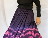 Bohemian Full Circle Silk Skirt, Handmade and Dyed, with Shibori