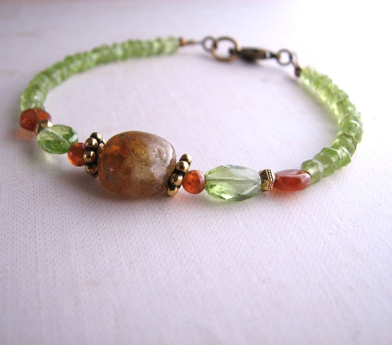 August birthstone Boho Rustic friendship bracelet gemstone peridot hessonite