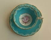 Vintage Royal Albert Teacup and Saucer Pink Rose Turquoise or Aqua  Blue Background Bone China 1940s England