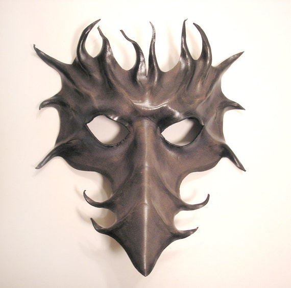 Long Nose Leather Mask in Grey and Black  Venetian Bird Dragon Phoenix Scaramouche