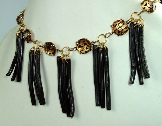 ON SALE Animal Print and RARE Black Coral Necklace with Gold Chain