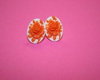 Tiny Orange Rose Cameo Earrings