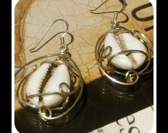 Cowrie Shell Wire Wrapped Earrings in Sterling Silver