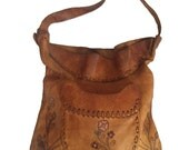Handmade Tooled Leather 60's Vintage Brown Hippy Handbag Floral