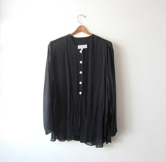 SALE - 1990's Sheer Black Oversized Tunic Top