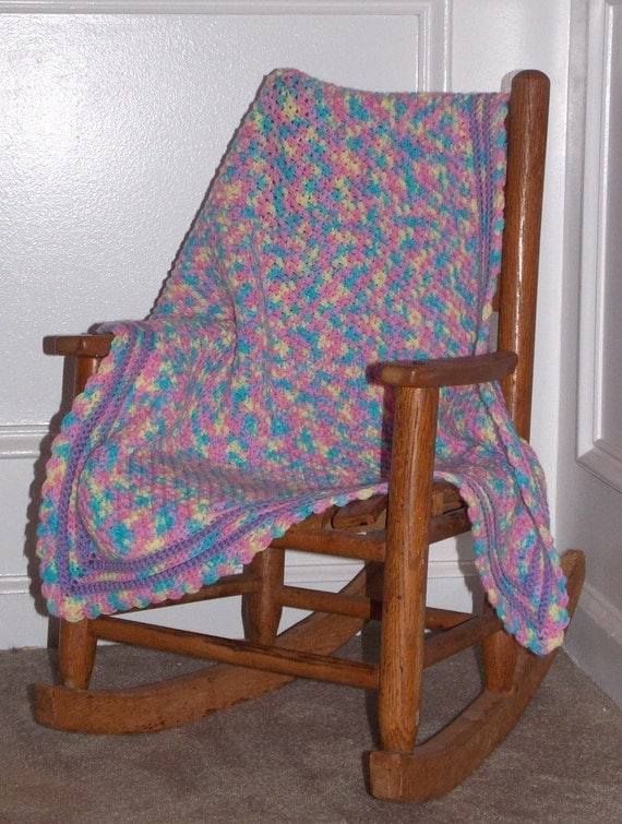 Cozy  Baby Blanket ... Hand Crochet ... Confetti ... Travel Sized Afghan  ... READY TO SHIP ... purple pink blue yellow ... Monet's garden