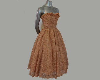 1950s dress / Vintage 50's Pucker Up Strapless Ribbon Cocktail Party Full Skirt Dress