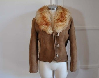 70s jacket / Vintage 1970s Boho Big Fluffy Collar Shearling Jacket Coat