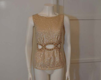 60s Top / Valentina Vintage 1960's Inset Rhinestone Open Tummy Beaded Sequin Sweater