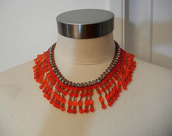 60s bib necklace / Vintage1960's Orange Bib Rhinestone Necklace