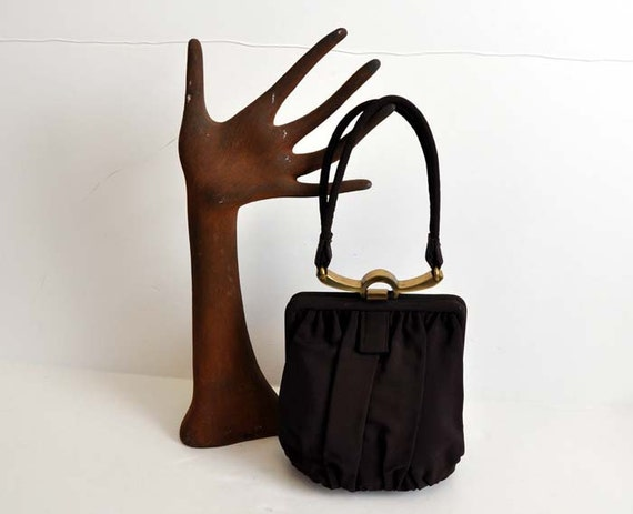 40s purse / Vintage 1940's Art Deco Brass Closure Bag Chocolate Brown