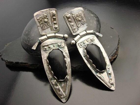 Black Magic - Fine Silver and Black Onyx Hinge Earrings