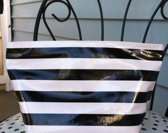 Beth's Medium Black Stripes Oilcloth Cosmetic bag