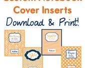 Set of 4 Orange and Navy Blue printable custom notebook covers