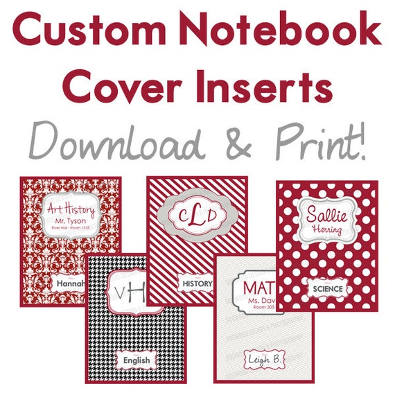 Items similar to Set of 5 printable custom notebook covers ...