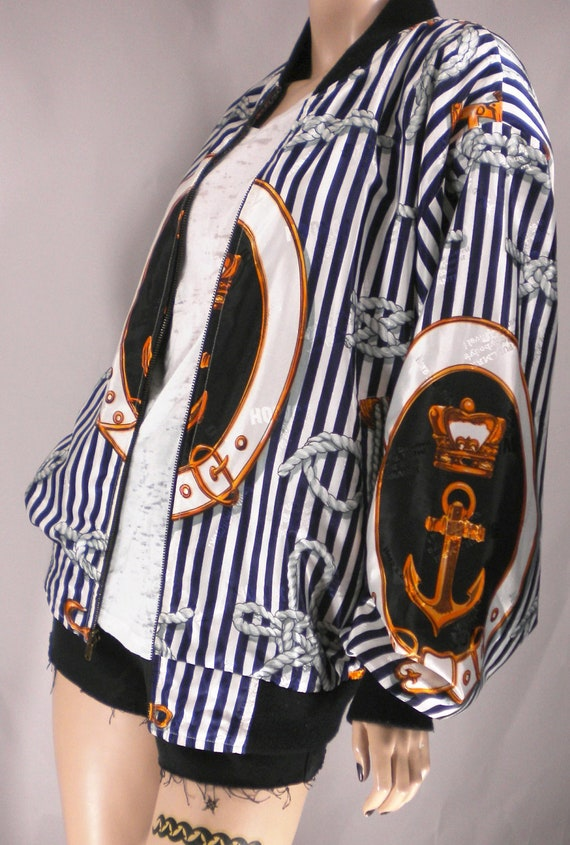 Vtg 80s Reversible Royalty Nautical Statement Striped Sailor Paisley Preppy Anchor Crown Bomber jacket Coat Sale Was 59.99