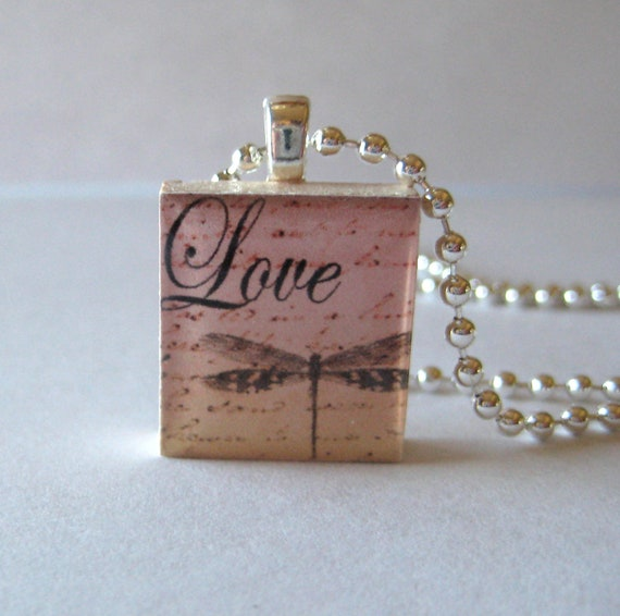 Love with a Dragonfly Scrabble Tile Necklace