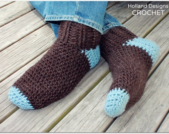 Download Now - CROCHET PATTERN Man Socks - Includes Mens Sizes 6-15 - Pattern PDF