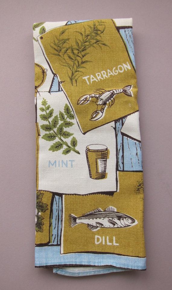 Vtg Accompanying Herbs Tea Dish Kitchen Towel Styled by Arturo