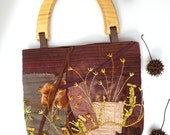 Fiber art embroidered purse featured in Sew Somerset winter 2015, MEADOW, fabric collage, brown, bohemian, statement, handle bag, up cycled