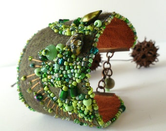 Wearable fiber art cuff felt bracelet, FRAGMENTS in GREEN VI, bead embroidery, hand stitched, statement, bohemian, Coachella, romantic