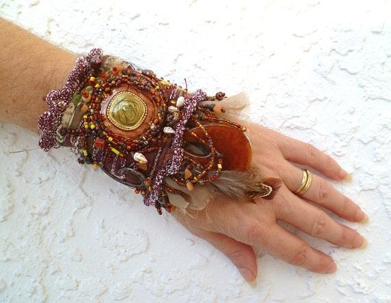 Gypsy tales IV, ooak fiber art gypsy bohemian cuff