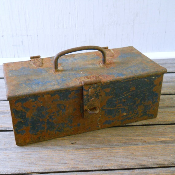 Blue and Rust Metal Tool Box