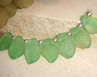 Czech Glass leaf beads frosted mint green matt 14x9 mm leaves