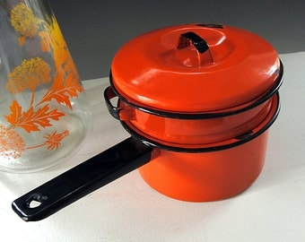 Vintage Double Boiler Enamelware Pan Orange Saucepan Pot Black Trim Vintage 1960s