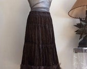 Chocolate brown ruffled skirt, convertible skirt, velvet boho skirt with tulle ruffles