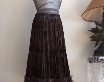 Chocolate brown ruffled skirt, convertible skirt, velvet boho skirt with tulle ruffles