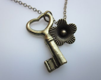 Key Necklace, Key Charm Necklace, Key and Flower, Vintage Style Key, Antique Gold Key Pendant