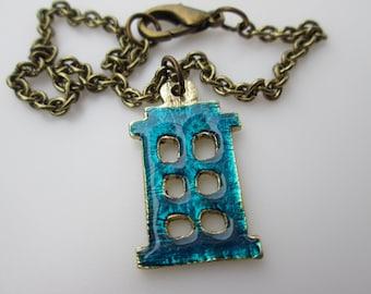 Doctor Who TARDIS Silhouette Charm Bracelet, Antique Gold Metal Alloy with Blue Enamel