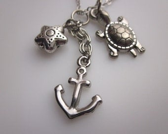 Anchor Necklace, Anchor and Turtle Charms, Starfish, Ocean Themed, Silver Anchor Necklace, Beach Necklace, Under the Sea