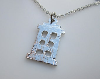 TARDIS Silhouette Necklace Inspired by Doctor Who in Silver Finish