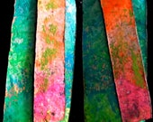 Neon Painted Rustic Rectangle Leather Earrings