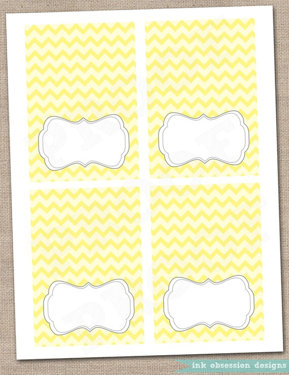 Yellow Chevron and Gray Buffet Card Printable Labels - Instant ...