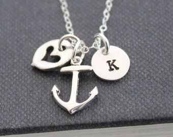 Anchor Necklace, Initial Necklace, Sterling Silver, Personalized Jewelry , Custom Hand Stamped Initial Necklace, Charm Necklace