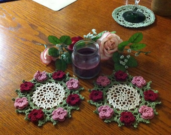 NEW Victorian roses crochet doilies to order choose color