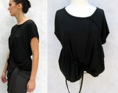 Ribbon and Fold Top - Modern Minimalist with Loop Ribbons in Midnight Black Soft Knit Jersey