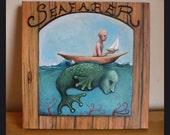 Seafarer Original Painting, Fairy Tale, Folk Tale, Kaiju, Sea Monster, Storybook Art, Loch Ness, Cryptozoology, Kraken, Nautical Themed Art