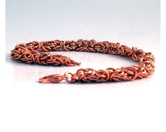 Copper Chainmaille Bracelet, Byzantine