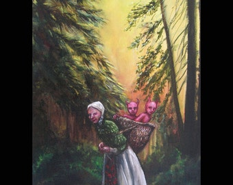 Baba Yaga and Her Basket of Devils, Original Painting, Folk Art, Fairy Tale, Dark Forest, Black Forest, Witch, Russian Folk Tale