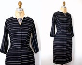 Vintage 40s Black and White Twill Stripe Wiggle Dress
